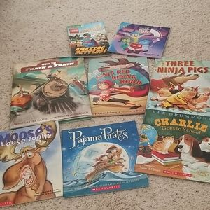 8 children's book lot Lego,  ninja, train, pirate,